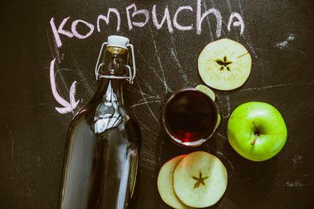 Top view on homemade Kombucha with fruits Stock Photo