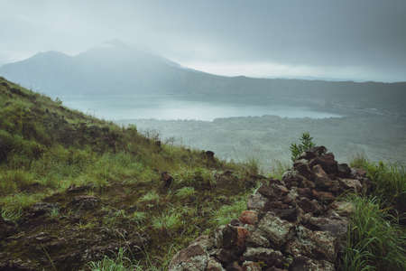 kisoro: Beautifull mountain in the morning mist , Batur, Bali,  Indonesia