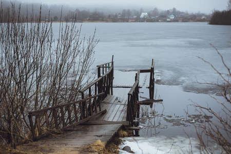 melancholic: Cold Melancholic Spring Landscape with Lake.