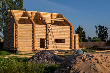 unfinished: Unfinished house in countryside in Russia