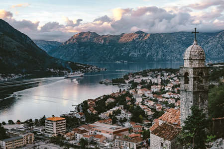 View of Bay of Kotor old town from Lovcen mountain.