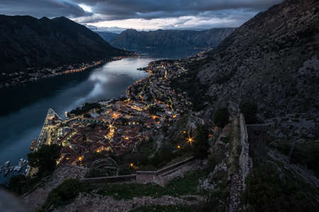 kotor: Evening View of Bay of Kotor old town from Lovcen mountain.
