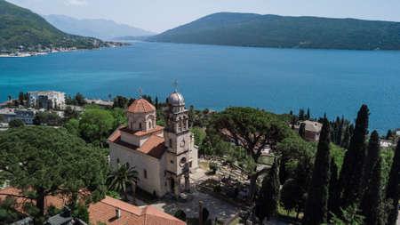 Aerial view of the Savino Monastery in Herceg Novi, Montenegro Banco de Imagens