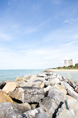 rayong: Rayong PMY Beach in the city. Stock Photo