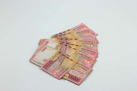 bearish: Indonesian currency Rupiah isolated on white background Stock Photo