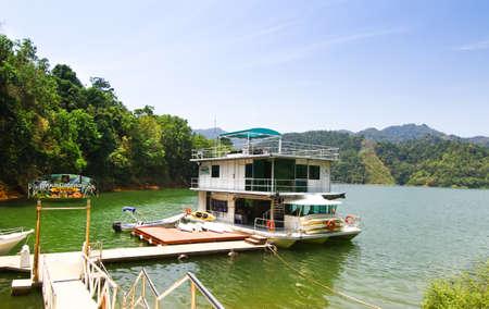 Houseboat in lake
