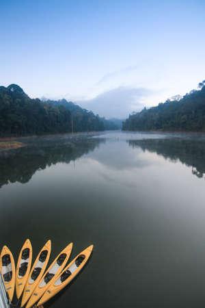 Yellow kayaks photo