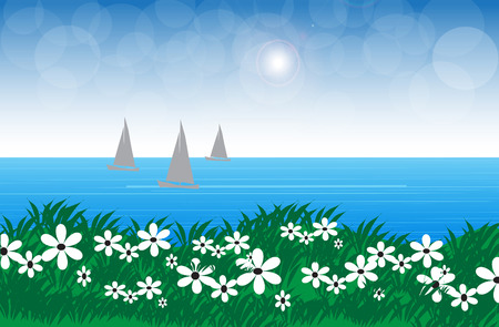 Sea, sky and flowers in a peaceful atmosphere.