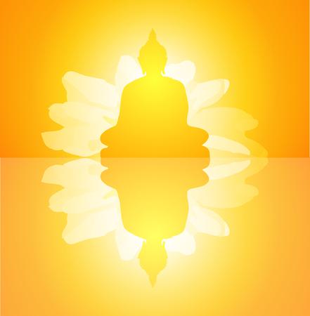 Buddha on yellow background-vector