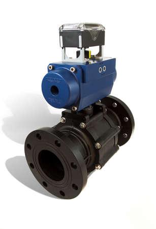 close fitting: Pneumatic valve with actuator Stock Photo