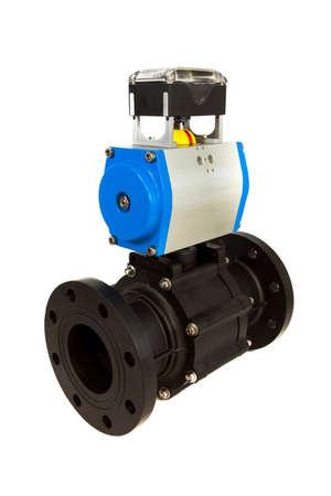 gas ball: Pneumatic valve with actuator Stock Photo