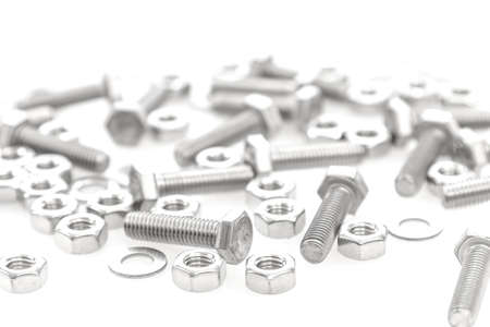 Nuts and Bolts Isolated On white Background photo