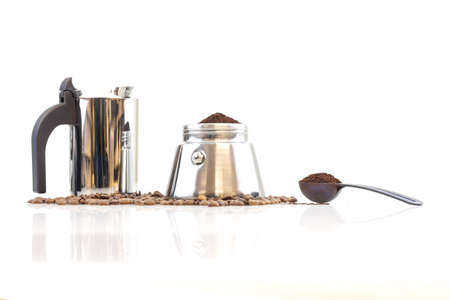 coffeemaker: Stainless steel traditional percolater with black handle. Isolated on white background.
