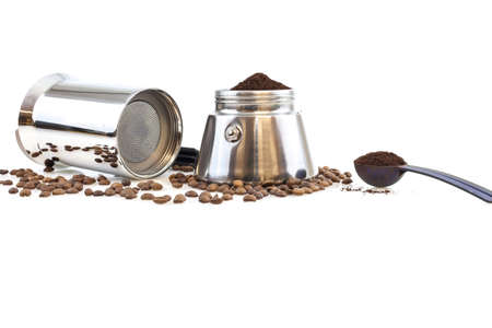 Stainless steel traditional percolater with black handle. Isolated on white background. photo