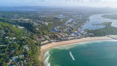 Drone photograph of the coastline of Noosa Heads, Queensland Australia