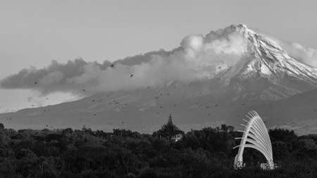 Black and white landscape shot of the bridge with Tongariro mountain in the background. Birds flying away.