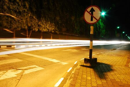 The light trails on the road