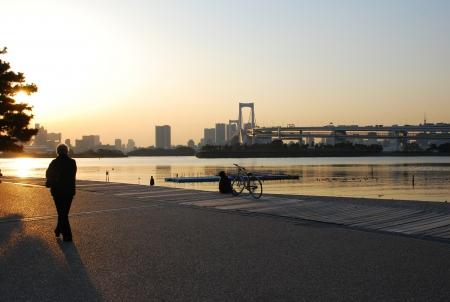 Romantic dawn in  bay