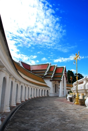 Curve of Phra Pathom Chedi temple wall with blue sky