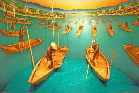 Artwork of ancient japanese rowboat