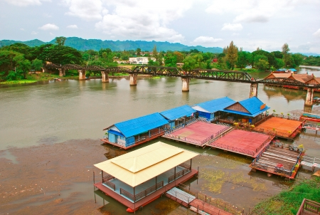 convict lake: Bridge on the River Kwai, Kanchanaburi,Thailand Stock Photo