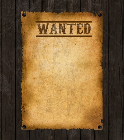the western wall: Old Vintage Western Wanted Poster Stock Photo