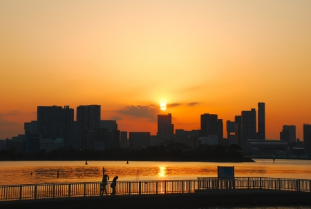 City Skyline sunset from Odiba-Tokyo Bay, Japan photo