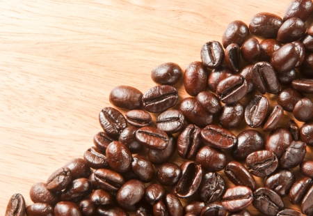 background of coffee beans on the table photo