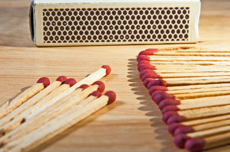 matches on the wood table photo