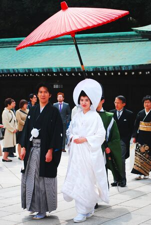TOKYO,JAPAN-Picture of traditional Japanese wedding ceremony at Meiji Jingu Shrine on March 30, 2010 in Harajuku District-Tokyo,Japan