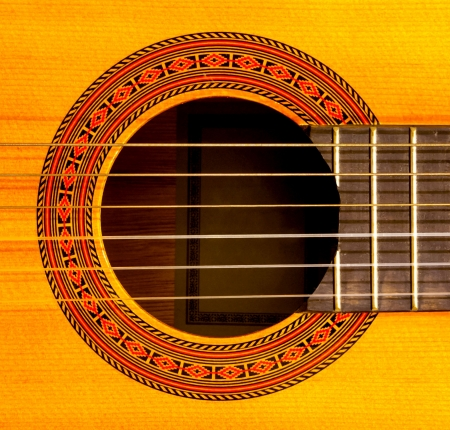 Close-up of sound hole of classic guitar photo