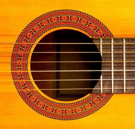 Zbliżenie dźwięku otworu gitary klasycznej