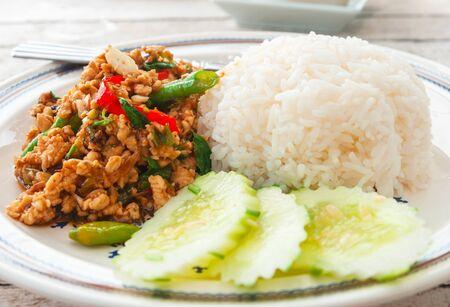 Thai spicy food basil chicken fried rice recipe  Krapao Gai