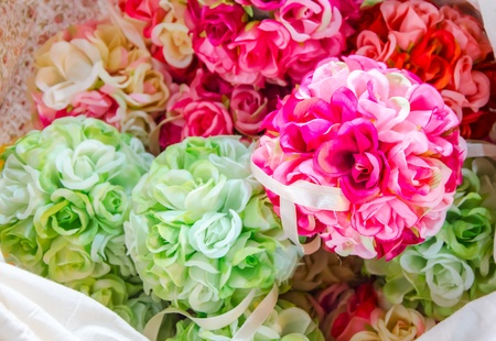 Colorful fabric flowers Stock Photo