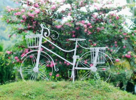 Wrought iron bicycle  in garden