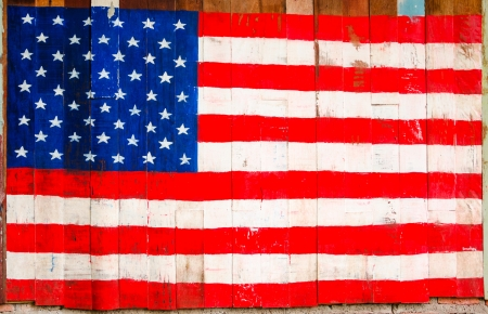 painting of USA flag on the wall photo