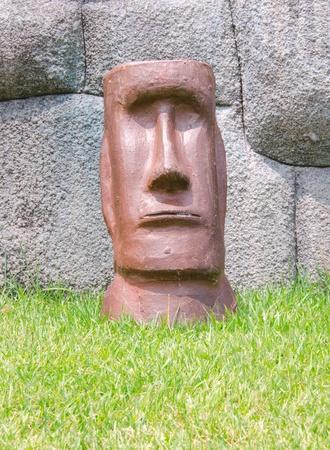 face of moai stone rock sculpture Stock Photo