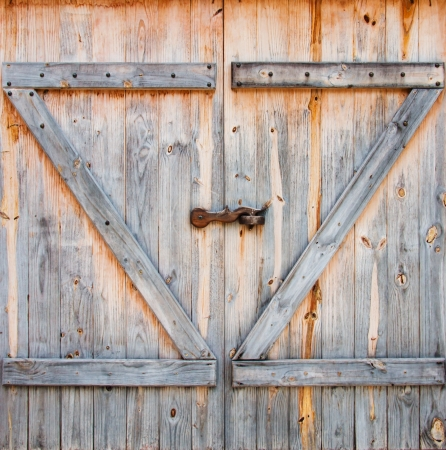 detail of wooden barn door photo