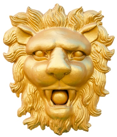 statue of golden lion head isolated on white