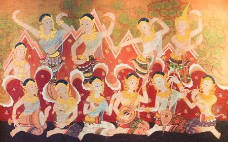 beautiful of ancient art  thai fabric painting