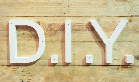 Thin flat piece of wood DIY  concept letter with plank