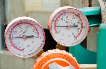 industrial regulator   Pressure Gauge, Flowmeter  Stock Photo