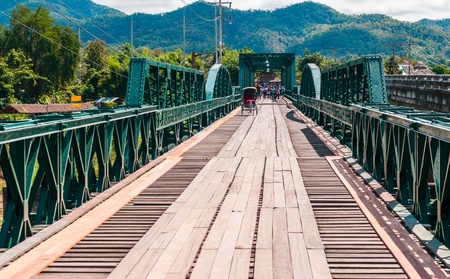 memorial bridge in pai city,mae hong son,thailand
