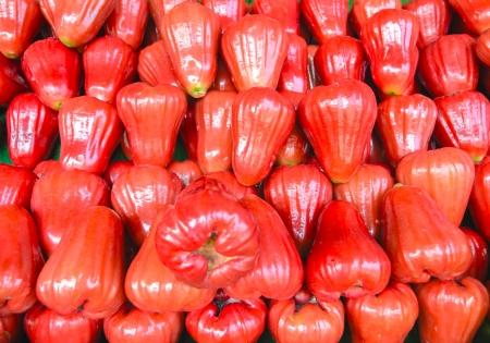 Fresh red rose apple fruit in the market