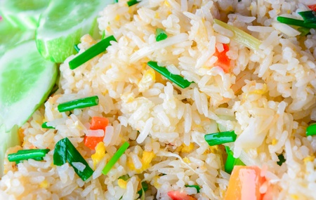 close up of egg fried rice with mixed vegetables Stock Photo