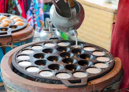 Thai Grilled Coconut-Rice Pancakes (Kanom Krok) Stock Photo
