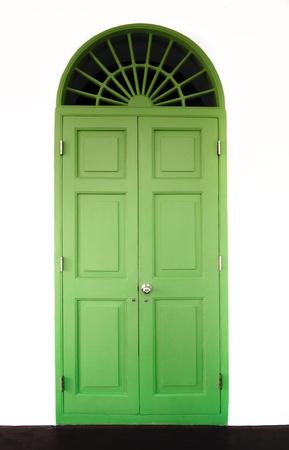 green front vintage door