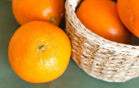 closeup up shot of mandarin oranges in white basket Stock Photo