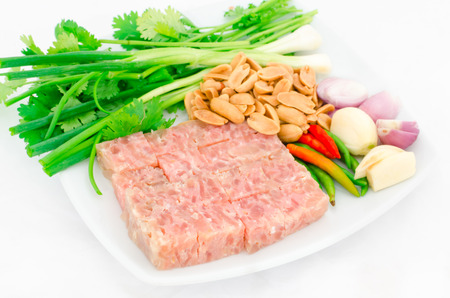 nem: Thai traditional food fermented ground pork (Nham) with vegetable on white dish