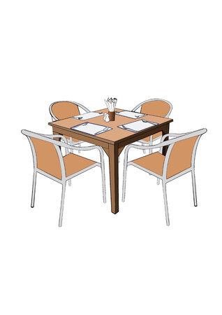 illustation: Restaurant Dinner table with chair vector illustation